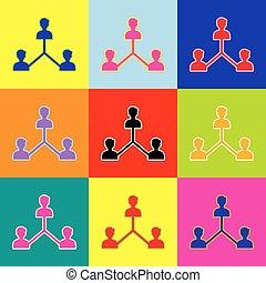 stil, satz, bunte, heiligenbilder, medien, zeichen., 3, colors., vector., sozial, marketing, pop-art