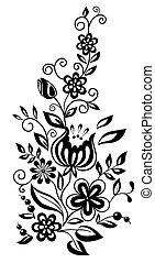 stil, schwarzweiss, leaves., element, design, retro, blumen-, blumen