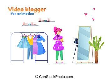 stilist, blogger, mode, vektor, m�dchen, junger, ausrüstung
