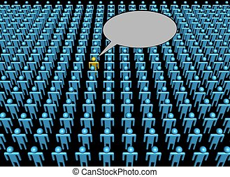 Stimme einer Person in Massen illustriert