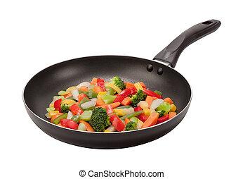 Stir frittiertes Gemüse in einer Pfanne