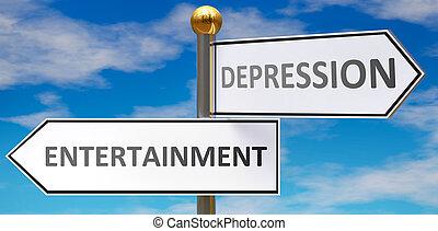 straße, verschieden, wahlen, leben, depressionen, abbildung, unterhaltung, gegenüber, dargestellt, zeichen & schilder, wege, unterhaltung, -, 3d, zeigen, wörter