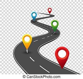 Straßeninfographien. Der Weg zum Erfolg mit Pin-Zeigern. Geschäftsreise. Fortschrittskonzept