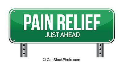 Straßenschild mit einem Schmerzmittel-Konzept