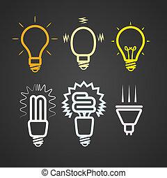 strahlen, farbe, licht, sammlung, silhouetten, lampen