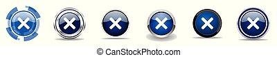 Streichen Sie Silbermetallische Chrom-Grenz-Vektor-Icons, Set von Web-Tasten, runde blaue Zeichen in Eps 10.