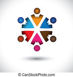Streicht farbenfrohe Kinder (Kinder) Ikonen im Kreisvektorgrafik. Diese mehrfarbige Illustration ist auch das Konzept von Kindern, die zusammen spielen, Freundschaft, Teambildung, Gruppenaktivitäten usw