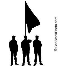 streik, flaggen, eins