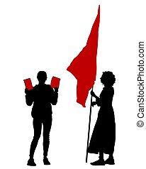 streik, flaggen, fünf
