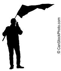 streik, flaggen, vier