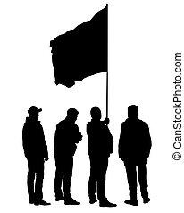 streik, flaggen, zwei