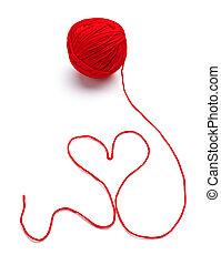 strickzeug, herz, liebe, wolle, form