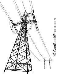 Stromleitungen und Pylonen
