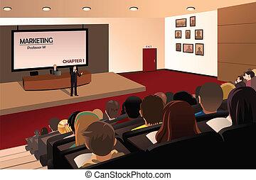 Studenten hören dem Professor im Auditorium zu.