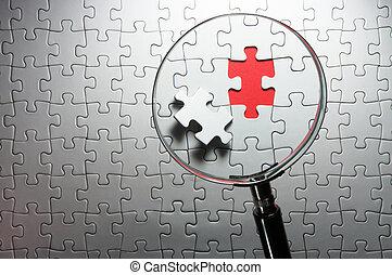 Suche nach fehlenden Puzzlestücken mit einem Vergrößerungsglas.