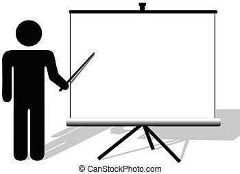 Symbol-Mann zeigt auf den Kopierer auf dem Filmbildschirm