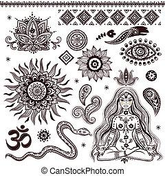 symbole, dekorativ, satz, indische , elemente