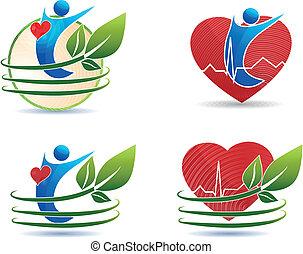 Symbole der menschlichen Gesundheit, gesundes Herzkonzept