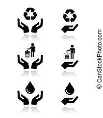 symbole, hände, grün, ökologie