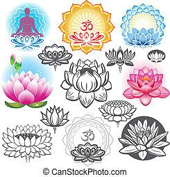 symbole, lotuses, satz, esoterisch