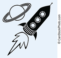 symbole, planet, schiff, saturn, rakete
