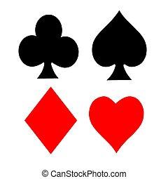 symbole, spielen karte