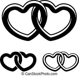 symbole, vektor, schwarz, herzen, weißes, verbunden