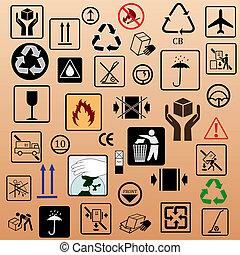 symbole, verpackung, satz
