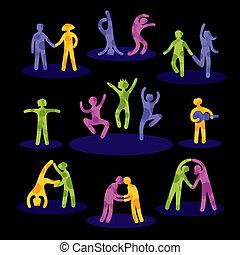 Symbole von Leuten, die Spaß haben