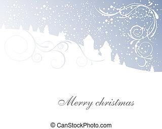 szene, -, weihnachtskarte, winter