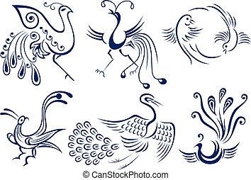 t�towierung, stammesvogel, abbildung