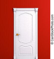 Tür mit weißem Haus im Innenbereich