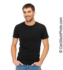 t-shirt, mann, schwarz, leer