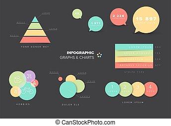 tabellen, sammlung, infographic