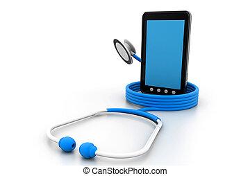 Tablet PC und ein Stethoskop.