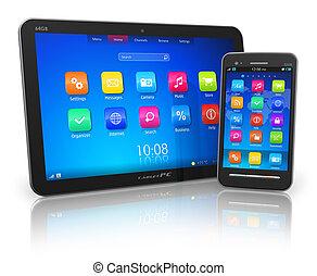 Tablet PC und Touchscreen Smartphone
