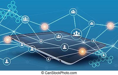 Tablet und Teamwork Netzwerk verbinden.