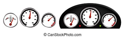 tachometer, dashboard., auto, realistisch, wasserwaage, gauge., hintergrund, lehren, weißes, vektor, geschwindigkeitsmesser, kraftstoff