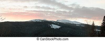tagesanbruch, berg, winterlandschaft
