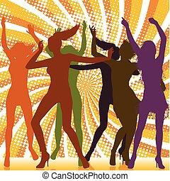 tanzende mädchen, hintergrund, strahl