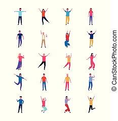 tanzende menschen, satz, spaß haben