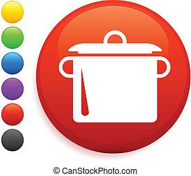 taste, ikone, runder , kochenden topf, internet