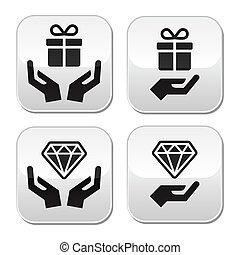 tasten, hände, diamant, geschenk