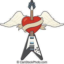 Tattoo-Stil-Gitarre Illustration