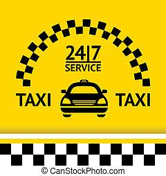 Taxisymbol und Auto im Hintergrund