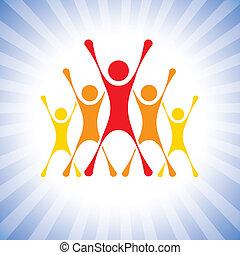 Team der Erreicher feiert den Sieg in einem Wettbewerb Vektorgrafik. Diese Illustration kann auch Gewinner einer Herausforderung sein, begeisterte Teammitglieder, begeisterte Menschen, Super-Erreicher usw