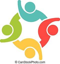 Team von 4 glücklichen Leuten Logo.