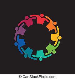 teaming, gemeinschaftsarbeit, auf, umarmung, leute., ikone, vektor, gruppe, 9, engagement, begriff, united.