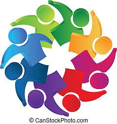 Teamwork 3D people Leadership logo.
