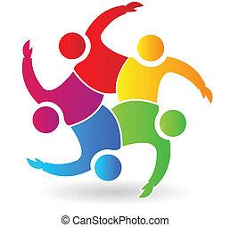 Teamwork 5 Leute umarmen Logo.